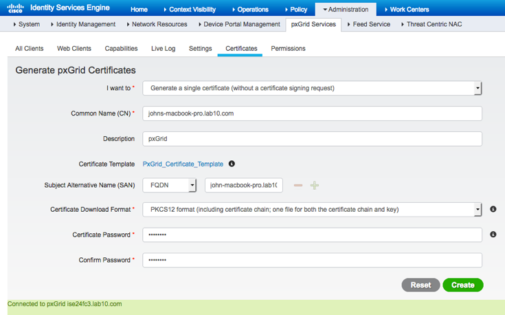 Generating Certificates - pxGrid API - Document - Cisco DevNet